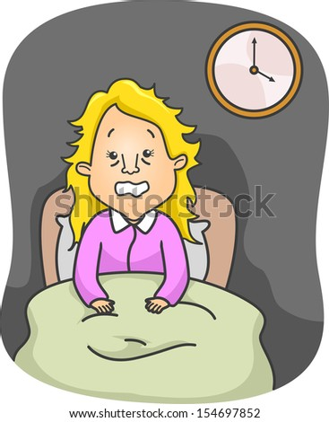 Illustration of an Insomniac Woman Up in Bed All Night - stock vector