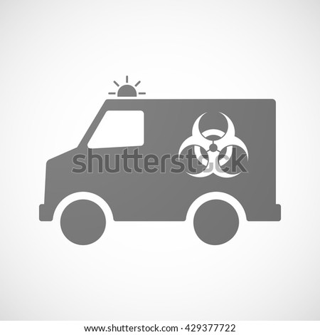Illustration of an isolated ambulance icon with a biohazard sign