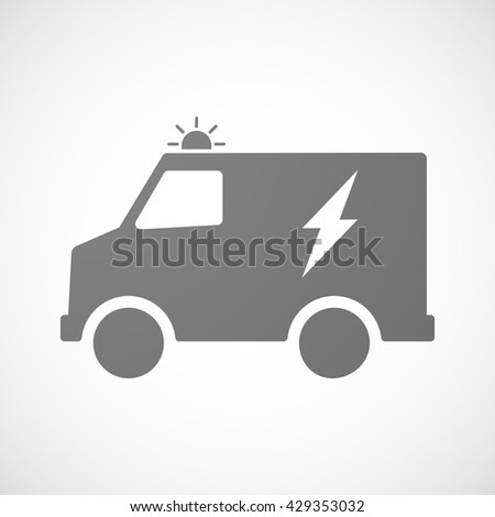 Illustration of an isolated ambulance icon with a lightning
