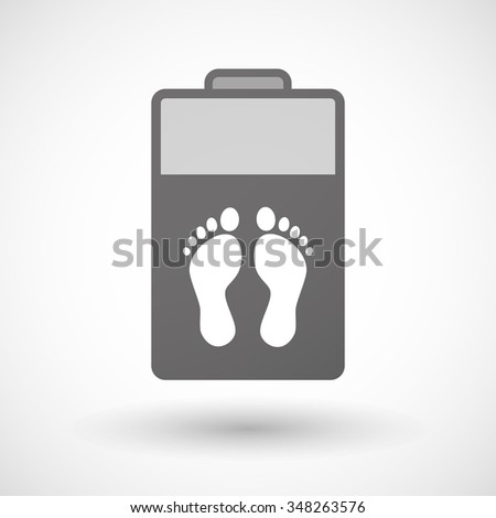 Illustration of an isolated battery icon with two footprints