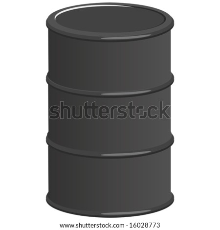 Illustration of an isolated black oil barrel