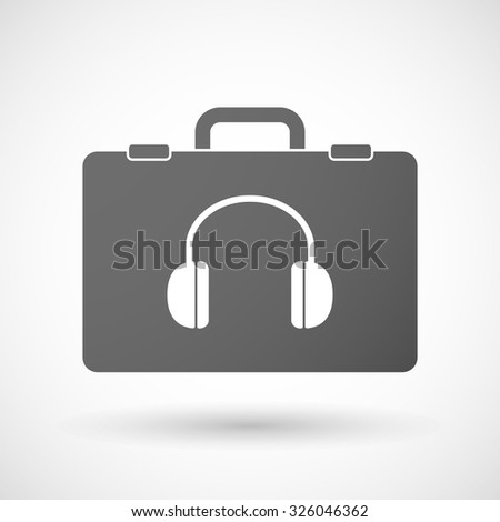 Illustration of an isolated briefcase icon with a earphones