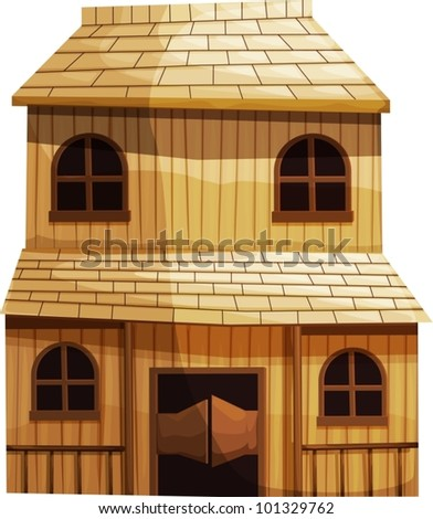 Illustration of an isolated building from the Wild West - stock vector