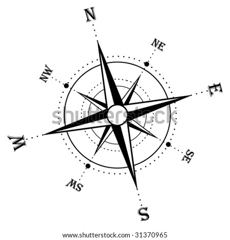Illustration of an isolated compass rose - stock vector