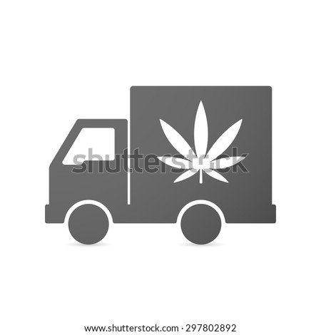 Illustration of an isolated delivery truck icon with a marijuana leaf - stock vector