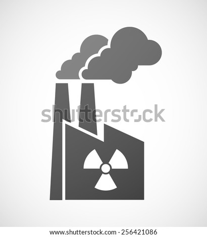 Illustration of an isolated factory icon with a radio activity sign - stock vector
