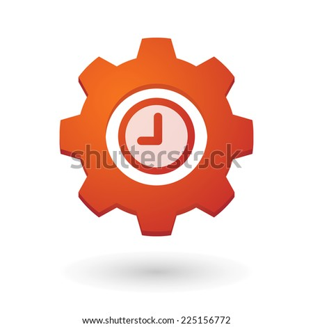 Illustration of an isolated gear icon with a clock - stock vector