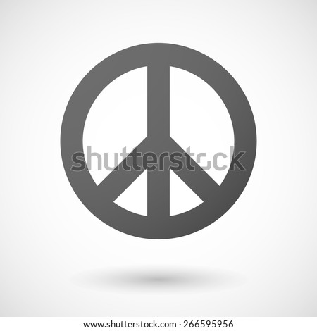 Illustration of an isolated grey peace sign - stock vector