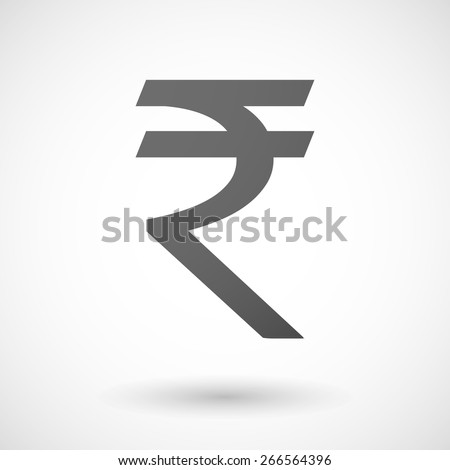 Illustration of an isolated grey rupee icon - stock vector