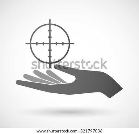 Illustration of an isolated hand giving a crosshair