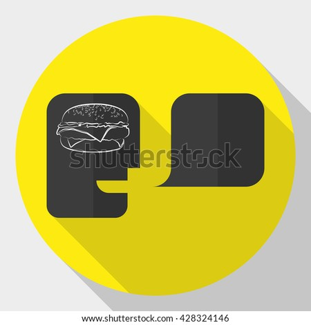 Illustration of an isolated head with an icon hamburger - stock vector