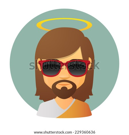 Illustration of an isolated Jesus avatar wearing sun glasses - stock vector