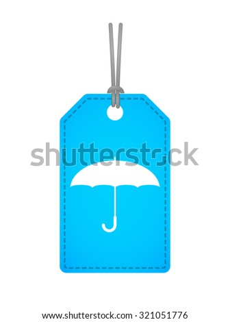 Illustration of an isolated label icon with an umbrella - stock vector