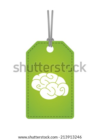 Illustration of an isolated label with a brain - stock vector
