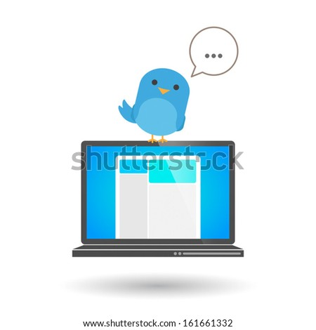 Illustration of an isolated laptop with a blue bird