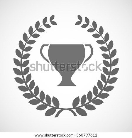 Illustration of an isolated laurel wreath icon with a cup
