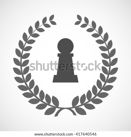 Illustration of an isolated laurel wreath icon with a  pawn chess figure - stock vector