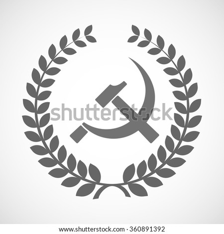 Illustration of an isolated laurel wreath icon with  the communist symbol - stock vector