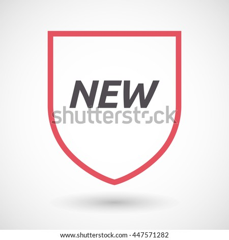 Illustration of an isolated line art shield with    the text NEW