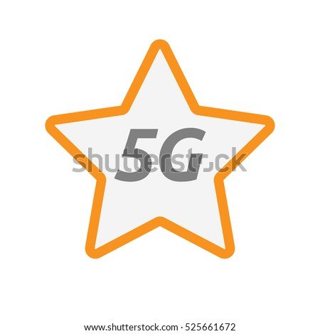 Illustration of an isolated line art star icon with    the text 5G