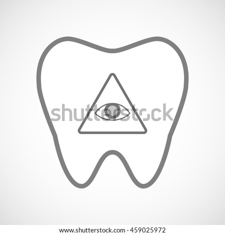 Illustration of an isolated line art tooth icon with an all seeing eye