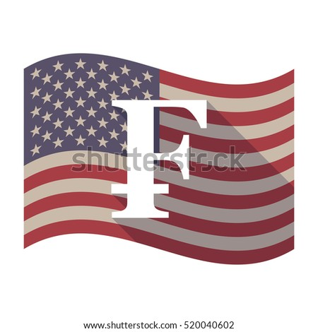 Illustration of an isolated long shadow waving United States of America flag with a swiss franc sign