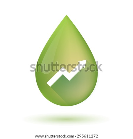 Illustration of an isolated olive oil drop icon with a graph - stock vector