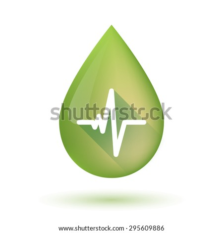 Illustration of an isolated olive oil drop icon with a heart beat sign - stock vector