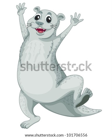 Illustration of an isolated otter - stock vector