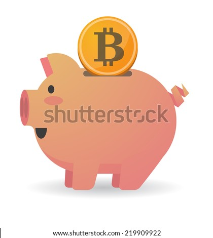 Illustration of an isolated piggy bank with a currency sign - stock vector