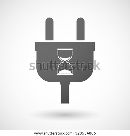 Illustration of an isolated plug icon with a sand clock - stock vector