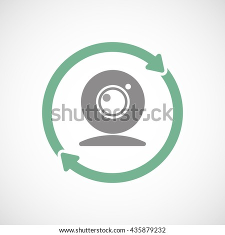 Illustration of an isolated reuse line art sign with a web cam