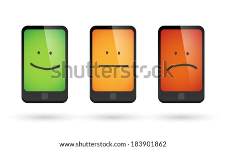 Illustration of an isolated set of survey phone icons - stock vector