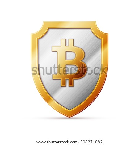 Illustration of an isolated shield with a bitcoin sign - stock vector