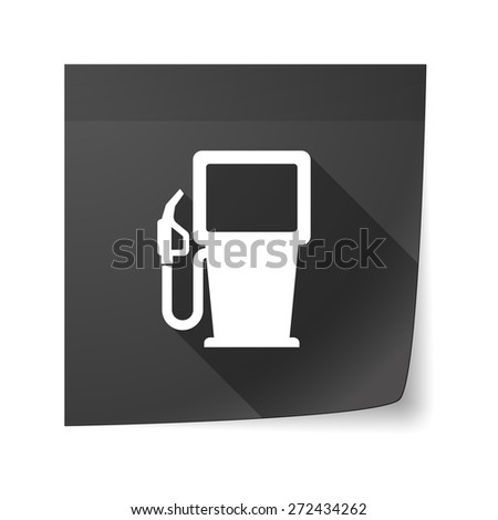 Illustration of an isolated sticky note icon with a gas station