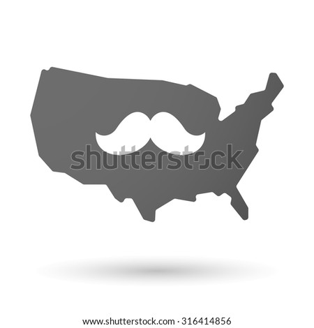 Illustration of an isolated USA map icon with a moustache - stock vector