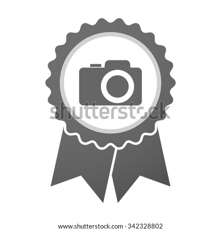 Illustration of an isolated vector badge icon with a photo camera - stock vector