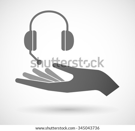 Illustration of an isolated vector hand giving  a hands free phone device - stock vector