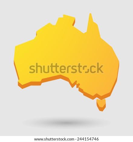 Illustration of an isolated    yellow Australia map  icon  - stock vector
