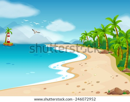 Illustration of an ocean view during the day - stock vector