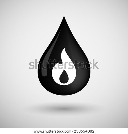 Illustration of an oil drop icon with a flame - stock vector