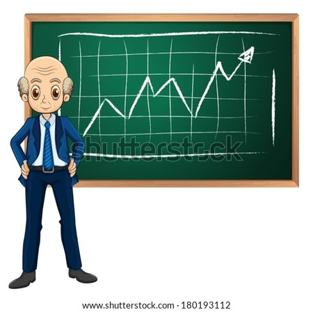 Illustration of an old businessman in front of the blackboard on a white background