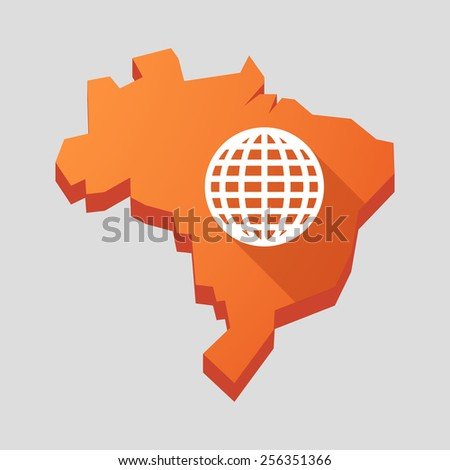 Illustration of an orange  Brazil map with a world globe - stock vector