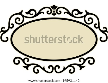 Illustration of an Oval Frame Surrounded by Decorative Swirls - stock vector