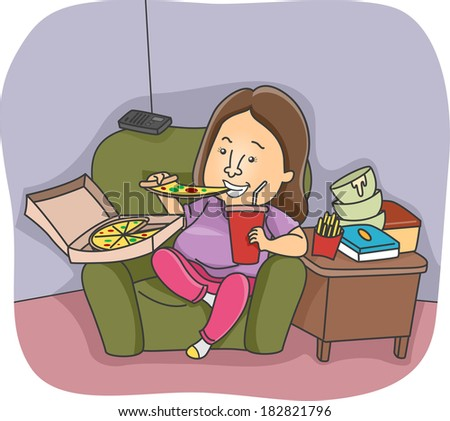 Illustration of an Overweight Woman Going on an Eating Binge - stock vector