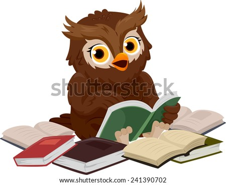 Illustration of an Owl Smiling Happily While Reading a Book - stock vector