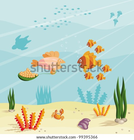 Illustration of an underwater ocean scene with small cartoon fishes - stock vector