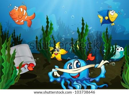 Illustration of an underwater scene - stock vector