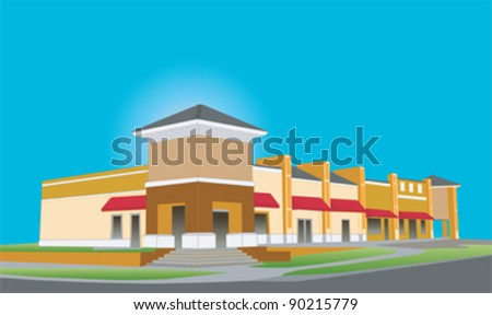 illustration of an upscale beige toned strip mall building with red awnings and tinted glass - stock vector
