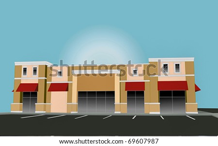 illustration of an upscale pastel strip mall building with red awnings and tinted glass - stock vector
